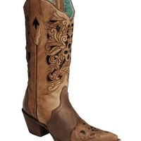 Corral Black & Tan Tooled Inlay Cowgirl Boots - Pointed Toe - Sheplers