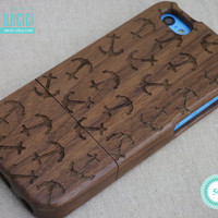 Natural Wood iPhone 5c case, Walnut Wood, Engraved Anchor, Art, Sea, Nautical, Laser Engraving, Wooden iPhone case, iPhone cover 13008