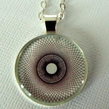 "Necklace, Gifts for Women, Jewelry, Original,  ""Spirograph"", Black, White, Handmade, OOAK, Gift Idea, Graphic Design, Christmas"