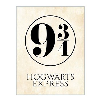 Hogwarts Express Platform 9 3/4 Harry Potter Train Platform Number Print on Parchment Background