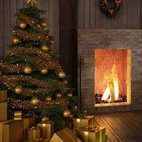 Christmas Tree Fireplace with Gold Presents Printed Backdrop - 5301