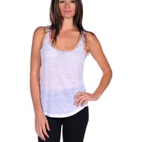 Majestic Linen Tank with Liberty Trim - White