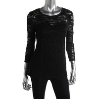 Annalee + Hope Womens Lace Sheer Yoke Pullover Top