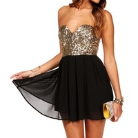 BlackGold Strapless Sequin Tunic