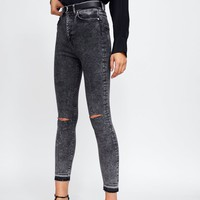 ZW PREMIUM 80S HIGH WAIST SNOW BLACK JEANS - NEW IN-WOMAN | ZARA United States
