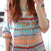 Casual Round Neck Wave Print Blouse B005314