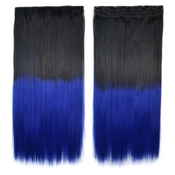 Dyed Long Straight Hair Extension Gradient Ramp Wig    black to sapphire
