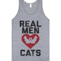 Real Men Love Cats (Tank)-Unisex Athletic Grey Tank