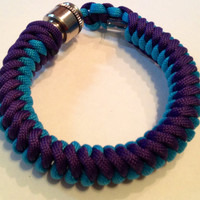 Purple and Turquoise Stealthy 550 Paracord Secret Pipe Bracelet w/ FREE SHIPPING