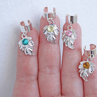 NEW SPRING COLORS - Lord of The Rings - Elven Ear Cuffs - Sterling Silver Leaf & Swarovski - No Piercing needed