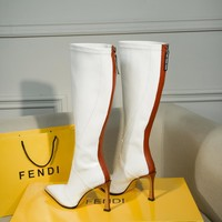 FENDI womens 2020 new office Logo-embossed leather Fashion Sports Elastic Stocking Ankle Short Boots high heels shoes white