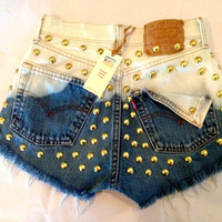 High waist destroyed blue ombre denim shorts by jeansgonewild