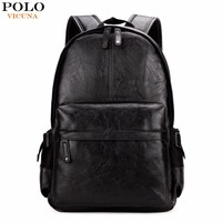 VICUNA POLO Famous Brand Preppy Style Leather School Backpack Bag