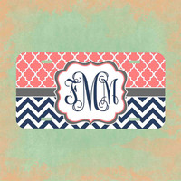 Monogrammed License plate - Coral Navy Chevron Front Car Tag , Personalized Monogrammed License Plate Car Tag