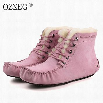Australia Female genuine leather winter pink lined real wool fur Ankle snow boot furry bootie Moccasins shoe for women ug Eskimo