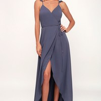 Here's to Us Slate Blue High-Low Wrap Dress