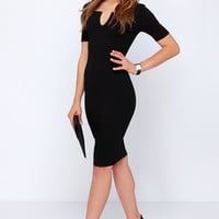 Why Not-ched Black Midi Dress