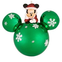disney parks green glass santa mickey mouse holiday ornament new with tags