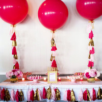 Giant Balloon with Tassel in Pink, Blue or Gold It's a Girl, It's a Boy Custom Jumbo Balloon