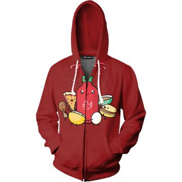 Squirting Sriracha Zip Up Hoodie