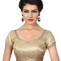 Saris and Things Antic-Gold Brocade Fancy Back Open Saree Blouse Choli SNT-X-357-ANTIC-GOLD