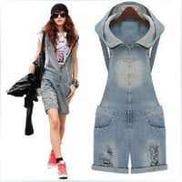 2016 spring and summer new Korean Zipper hole denim shorts vintage hooded Casual Jumpsuit Romper Overall Short/overalls