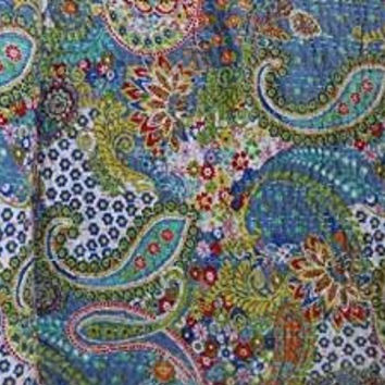 Handicrunch Handmade Paisley Printed Kantha Quilt, Twin Size Kantha Bedding, Indian Cotton Bedspread, Bohemian Kantha Throw, Floral Bed Cover