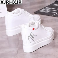 XJRHXJR White Black 10cm Height Increasing Casual Shoes Wedges Canvas Platform Woman Shoes High Top Lace Up Shoes Sneakers