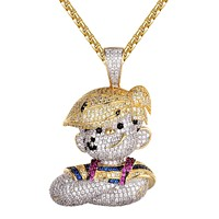 Cartoon Character Funny Custom Bling Kid Gold Finish Pendant