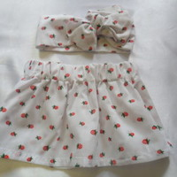 Baby's Skirt and Headwrap Cute Baby Set strawberry Print Baby Girls Clothes *NEW