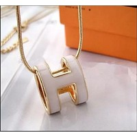 Hermes Women Fashion Oval Snake Chain Necklace Jewelry
