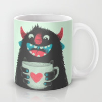 Demon with a cup of coffee Mug by Lime