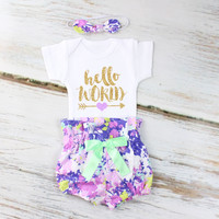 Hello World Baby Take Home Outfit   Purple Flowers High Waisted Bloomers outfit with Sparkly Gold Hello World and Purple Heart Arrow