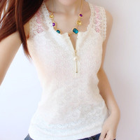 Summer NEW fashion Women Ladies cotton Camisole Strap solid zipper lace vest Tank Top, women Blouse Shirt G122