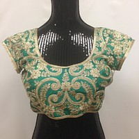 Golden Zardozi Embroidery Blouse - Green