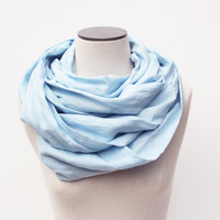 Infinity Scarf, Linen Scarf, Summer Scarf, Fall Scarf, Linen Infinity Scarf, Blue Summer Infinity Scarf, Pale Blue Scarf, Light Blue Scarf