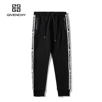 Givenchy fashion casual zipper ribbon section cotton trousers Black