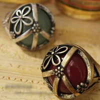 $4.99  Vintage Peace SignFiligree FlowerLarge Gem Dome Ring at Online Cheap Vintage Jewelry Store Gofavor