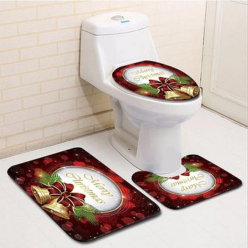 Merry Christmas Toilet Cover Mat Non-Slip Bathroom Rug 3pc. Set