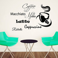 Coffee Wall Decal Coffee Cup Sticker Vinyl Decal Cappuccino Art Mural Home Decor Cafe Interior Design Kitchen Sticker Dining Room Decor KI85