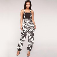 Almagores Women Jumpsuit Denim Camouflage Overalls Autumn Black Pink long Denim Jeans Strap Jumpsuit Rompers Pants trousers