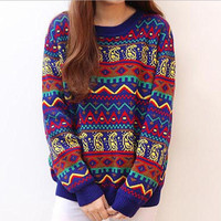 A 091029 Retro Hit Color Stripe Loose Sweater from Eternal
