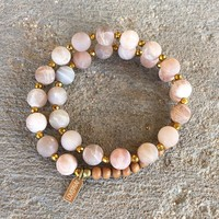 Matte Sunstone and Sandalwood, 'Joy and Healing', 27 Bead Wrist Mala Wrap Bracelet
