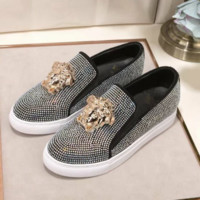 Versace Fashion new more diamond couple shoes flat white shoes round head casual heighten shoes Black