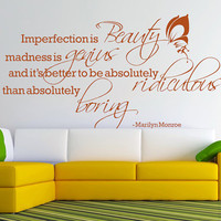 Vinyl Wall Decal Word Art - Marilyn Monroe Butterfly Imperfection is Beauty Genius Ridiculous Boring Wall Mural for family W0109