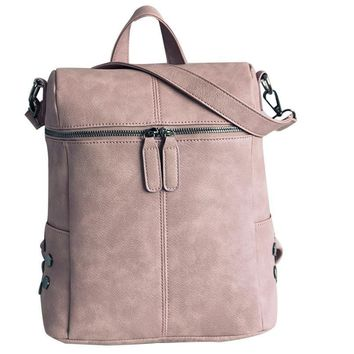 Women Backpack Leather Solid Travel Fashion Shoulders Tote Ladies Bag Mochilas Mujer