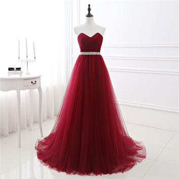 2017 New In Stock A-line Soft Tulle Dark Red Prom Dress Hand Beading Sexy Evening Gowns Bandage Long Party Dress vestido de fest
