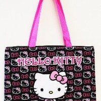 Large Black and Pink Hello Kitty Tote Bag