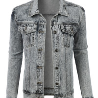 LE3NO Womens Oversized Boyfriend Denim Jacket