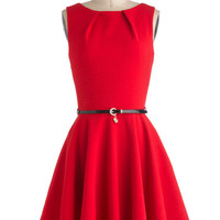 Closet Vintage Inspired Mid-length Sleeveless A-line Luck Be A Lady Dress in Red